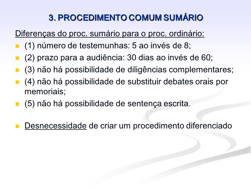 3. PROCEDIMENTO COMUM SUMÁRIO