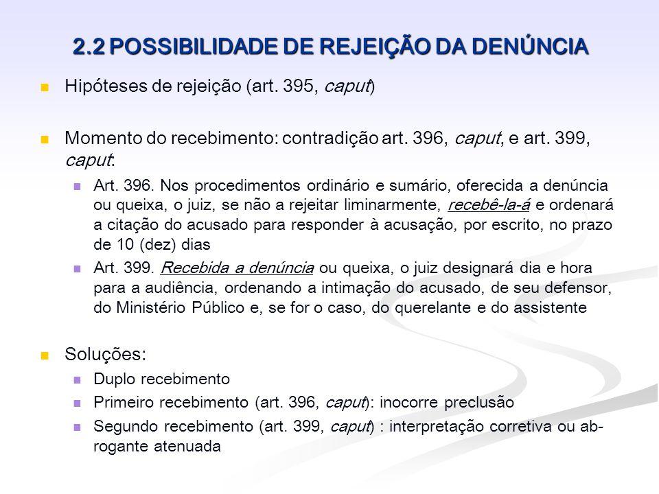 2.2 POSSIBILIDADE DE REJEIÇÃO DA DENÚNCIA