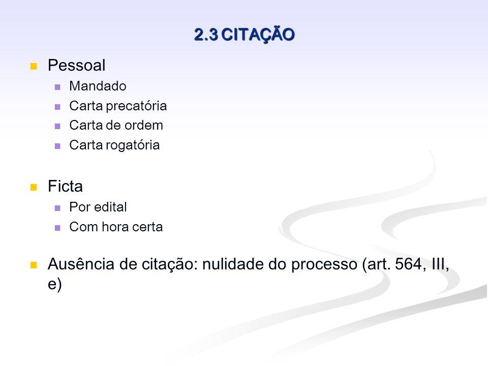Ausência de citação: nulidade do processo (art. 564, III, e)