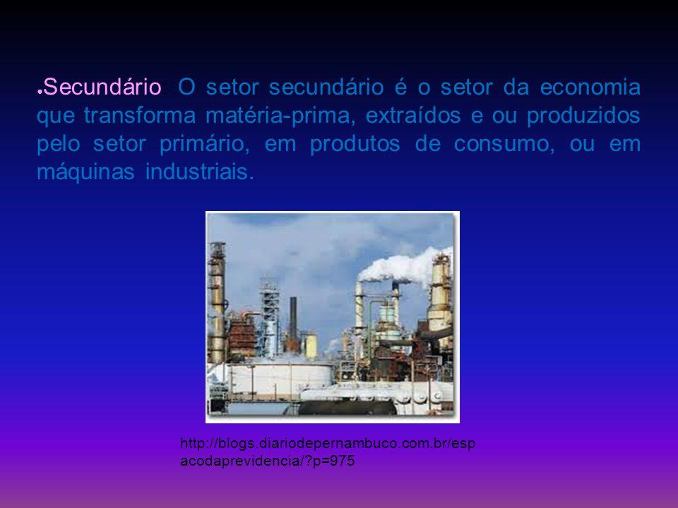 Secundário: O setor secundário é o setor da economia que transforma matéria-prima, extraídos e ou produzidos pelo setor primário, em produtos de consumo, ou em máquinas industriais.