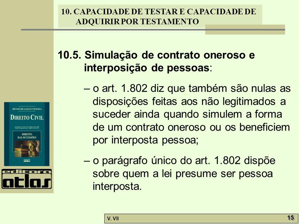 10.5. Simulação de contrato oneroso e interposição de pessoas: