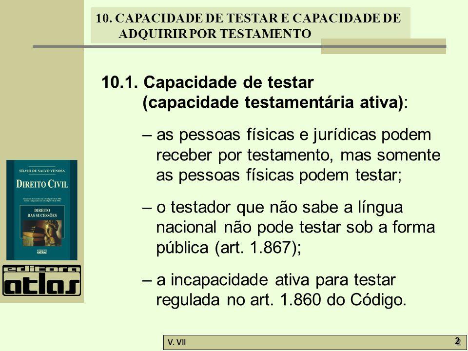 10.1. Capacidade de testar (capacidade testamentária ativa):