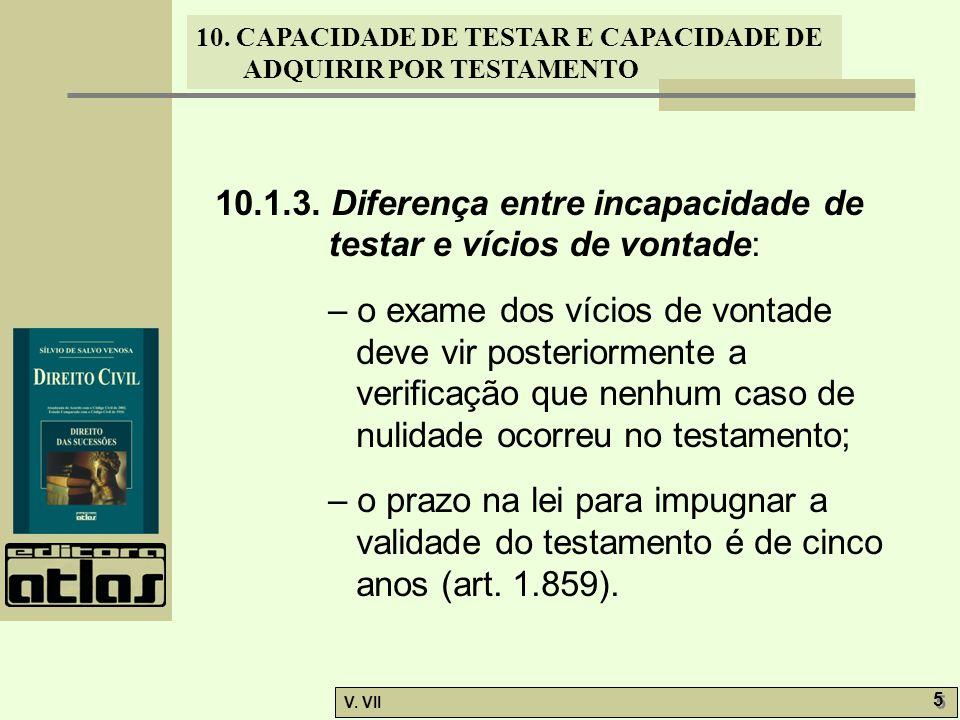 10.1.3. Diferença entre incapacidade de testar e vícios de vontade: