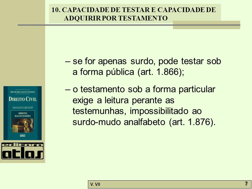 – se for apenas surdo, pode testar sob a forma pública (art. 1.866);