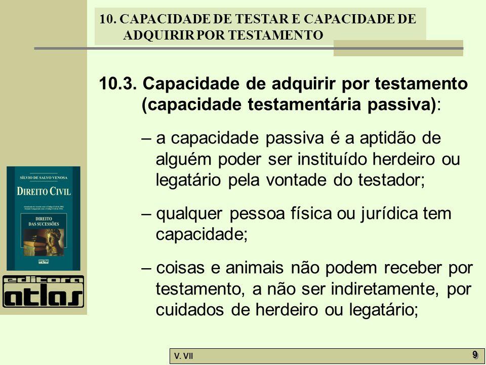 10.3. Capacidade de adquirir por testamento (capacidade testamentária passiva):