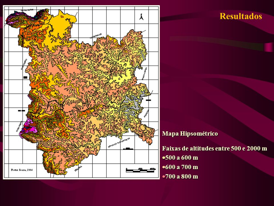 Resultados Mapa Hipsométrico Faixas de altitudes entre 500 e 2000 m