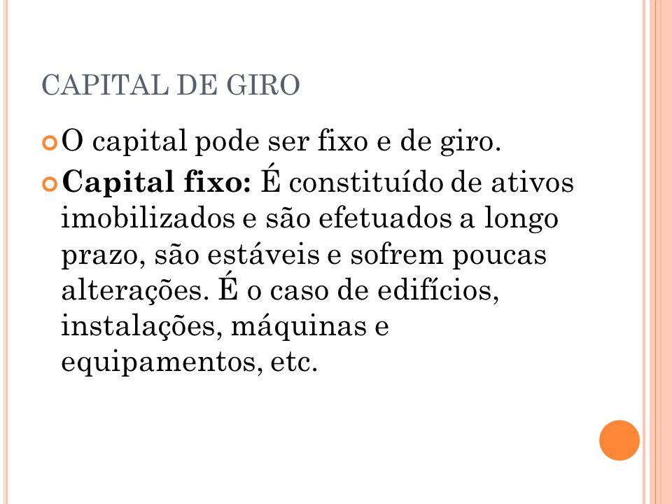 O capital pode ser fixo e de giro.