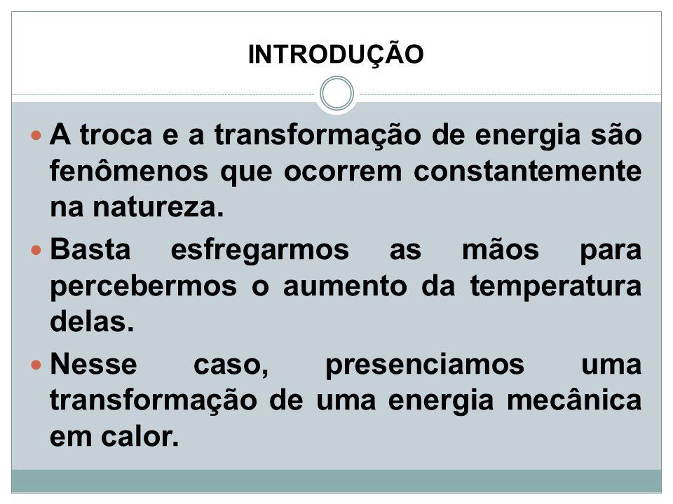 INTRODUÇÃO A troca e a transformação de energia são fenômenos que ocorrem constantemente na natureza.