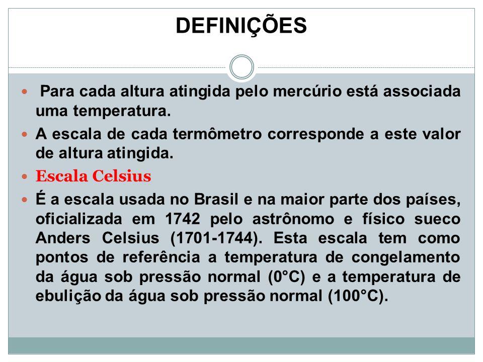 DEFINIÇÕES Para cada altura atingida pelo mercúrio está associada uma temperatura.