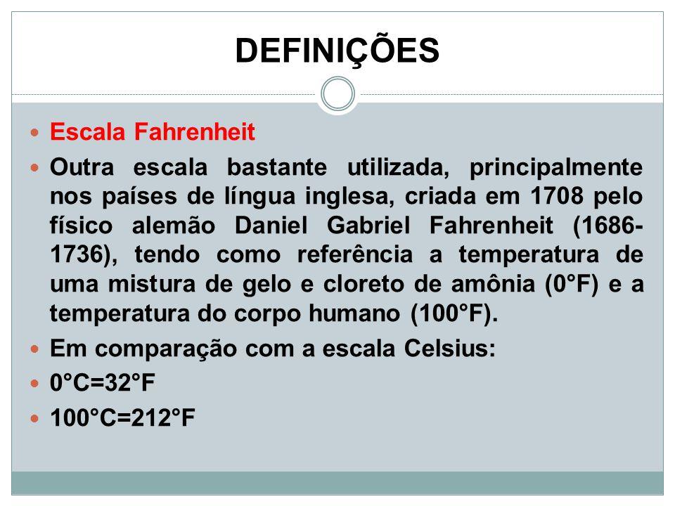 DEFINIÇÕES Escala Fahrenheit