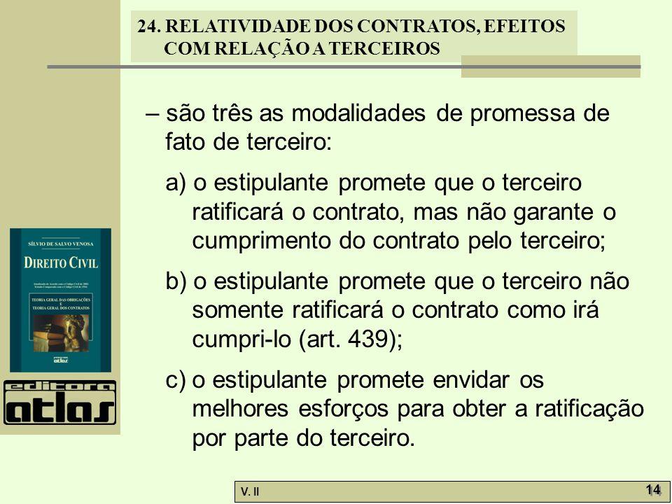 – são três as modalidades de promessa de fato de terceiro: