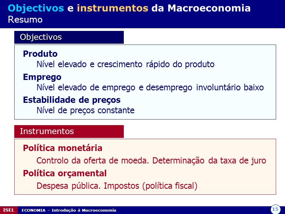 Objectivos e instrumentos da Macroeconomia Resumo