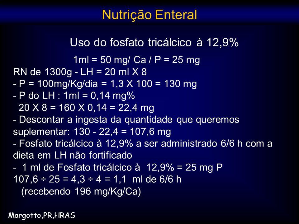Uso do fosfato tricálcico à 12,9%