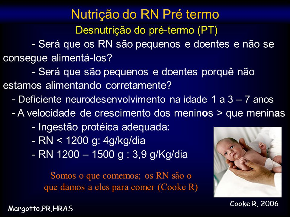 Nutrição do RN Pré termo