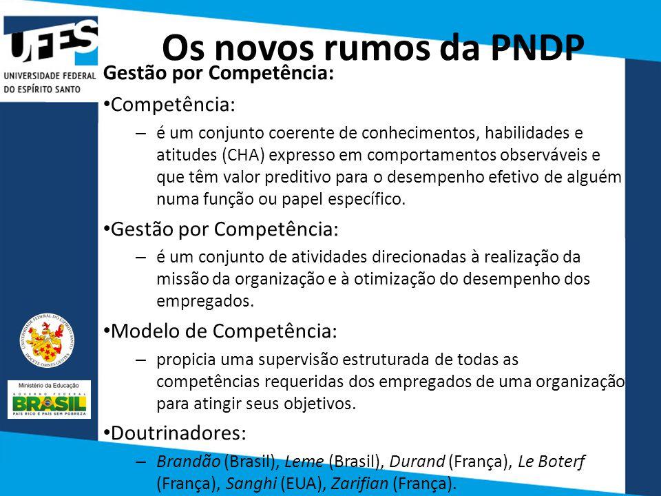 Os novos rumos da PNDP Gestão por Competência: Competência: