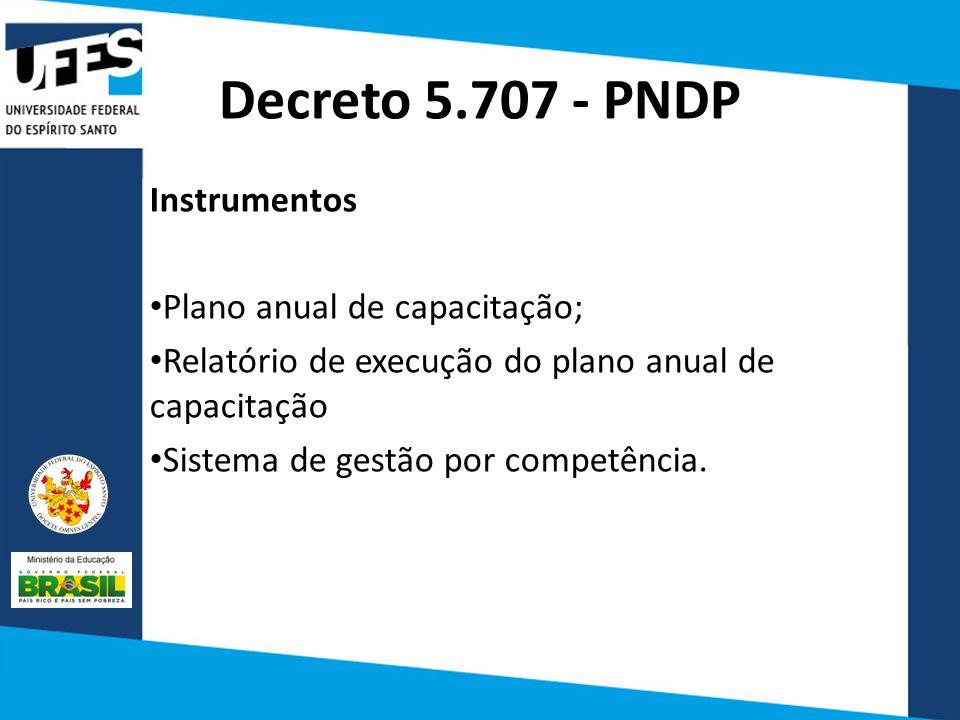 Decreto 5.707 - PNDP Instrumentos Plano anual de capacitação;