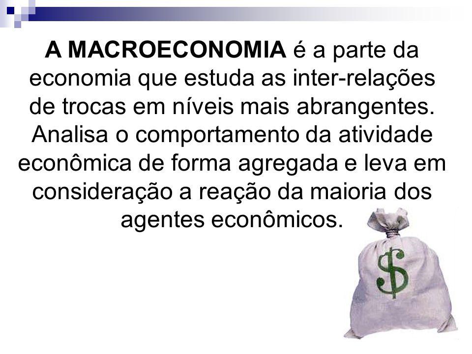 A MACROECONOMIA é a parte da economia que estuda as inter-relações de trocas em níveis mais abrangentes.