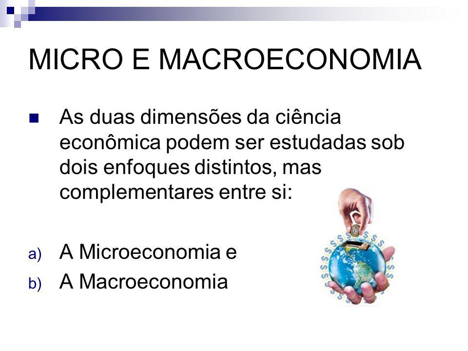MICRO E MACROECONOMIA As duas dimensões da ciência econômica podem ser estudadas sob dois enfoques distintos, mas complementares entre si: