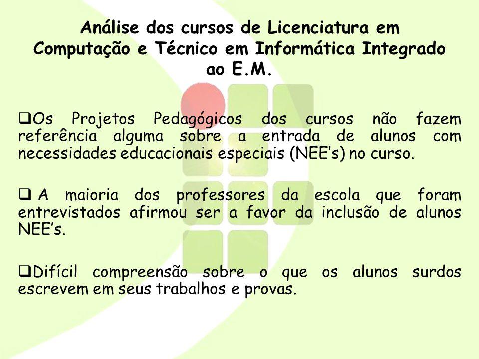 Análise dos cursos de Licenciatura em Computação e Técnico em Informática Integrado ao E.M.