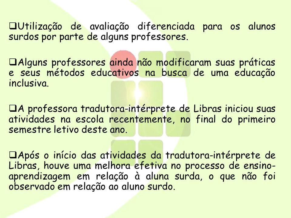 Utilização de avaliação diferenciada para os alunos surdos por parte de alguns professores.
