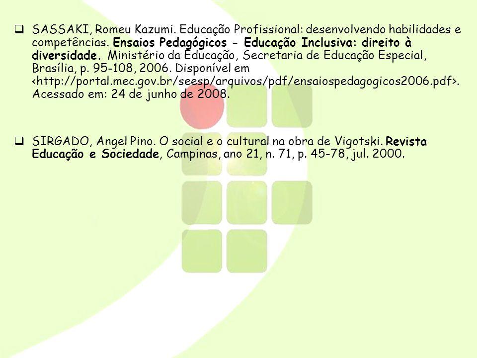 SASSAKI, Romeu Kazumi. Educação Profissional: desenvolvendo habilidades e competências. Ensaios Pedagógicos - Educação Inclusiva: direito à diversidade. Ministério da Educação, Secretaria de Educação Especial, Brasília, p. 95-108, 2006. Disponível em <http://portal.mec.gov.br/seesp/arquivos/pdf/ensaiospedagogicos2006.pdf>. Acessado em: 24 de junho de 2008.
