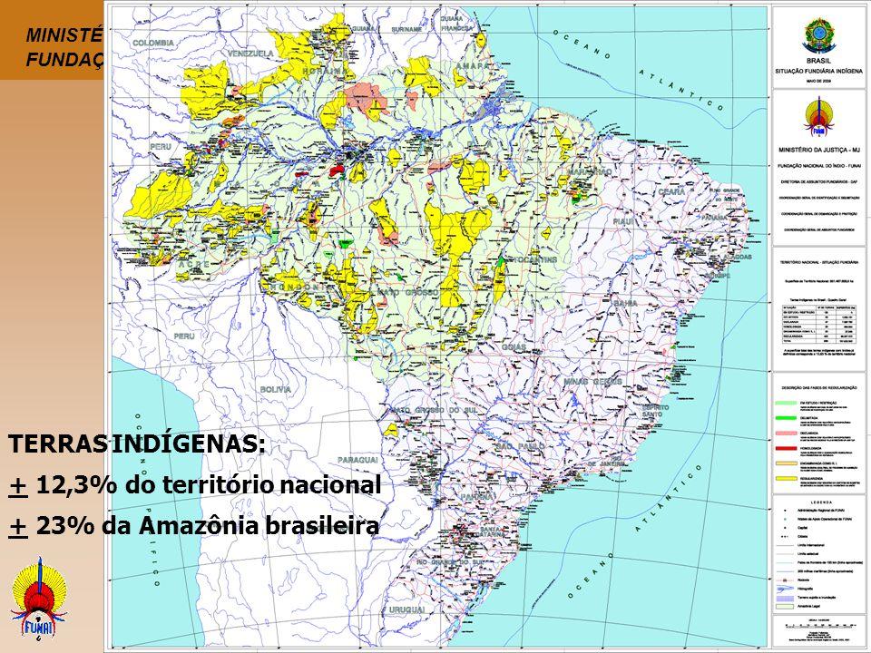 TERRAS INDÍGENAS: + 12,3% do território nacional + 23% da Amazônia brasileira