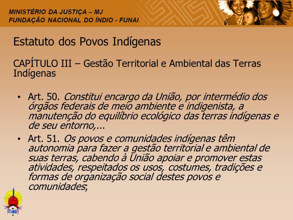 Estatuto dos Povos Indígenas CAPÍTULO III – Gestão Territorial e Ambiental das Terras Indígenas