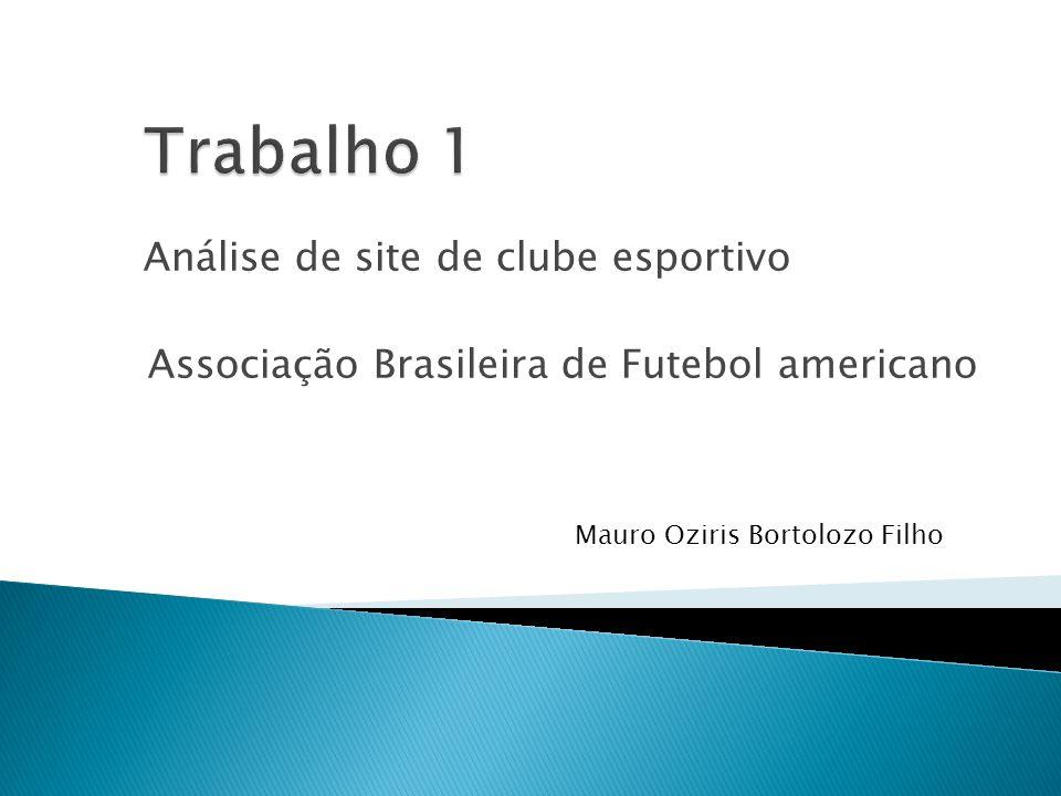 Trabalho 1 Análise de site de clube esportivo