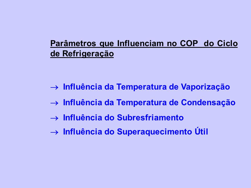 Parâmetros que Influenciam no COP do Ciclo de Refrigeração