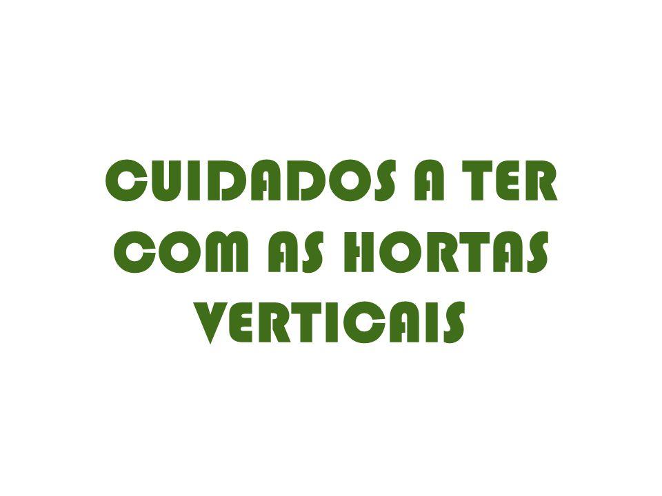 CUIDADOS A TER COM AS HORTAS VERTICAIS