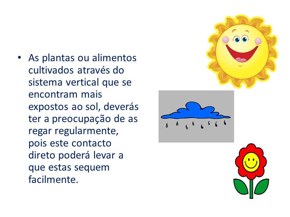 As plantas ou alimentos cultivados através do sistema vertical que se encontram mais expostos ao sol, deverás ter a preocupação de as regar regularmente, pois este contacto direto poderá levar a que estas sequem facilmente.