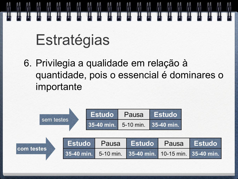 Estratégias Privilegia a qualidade em relação à quantidade, pois o essencial é dominares o importante.