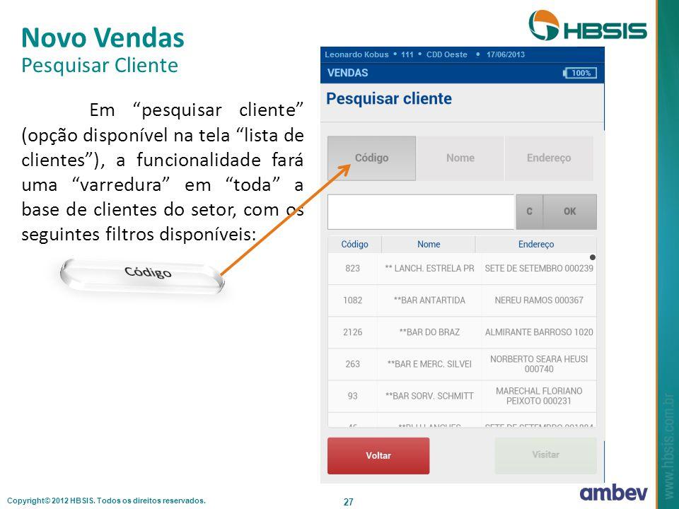 Novo Vendas Pesquisar Cliente Código