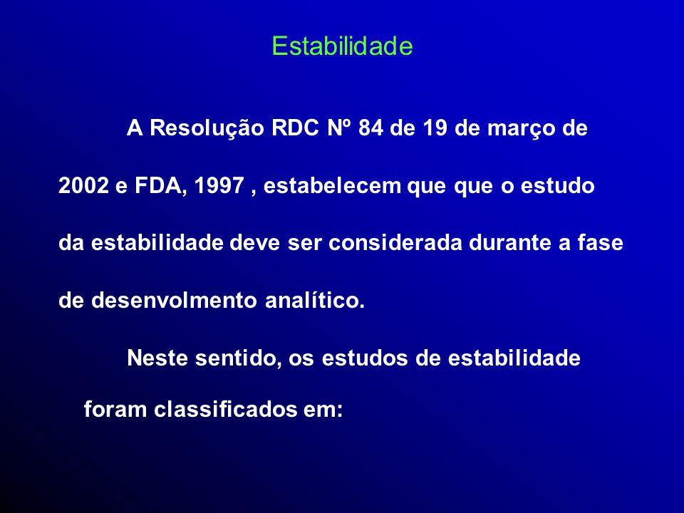 Estabilidade A Resolução RDC Nº 84 de 19 de março de
