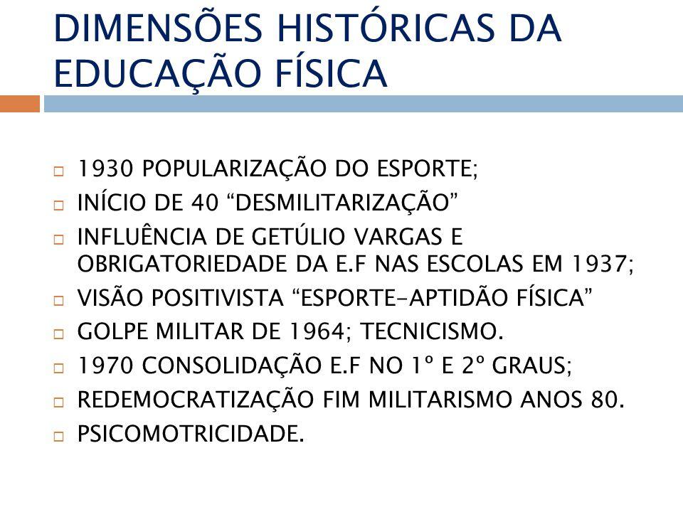 DIMENSÕES HISTÓRICAS DA EDUCAÇÃO FÍSICA