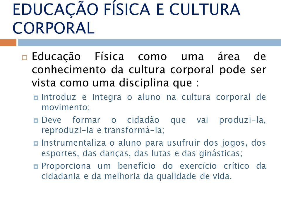 EDUCAÇÃO FÍSICA E CULTURA CORPORAL