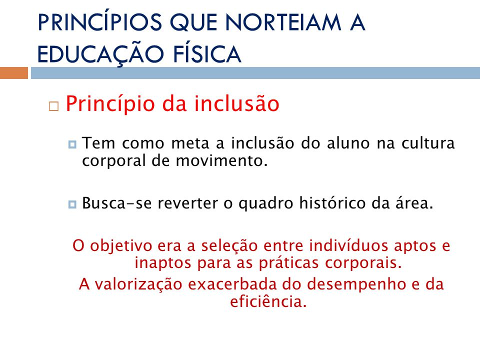 PRINCÍPIOS QUE NORTEIAM A EDUCAÇÃO FÍSICA