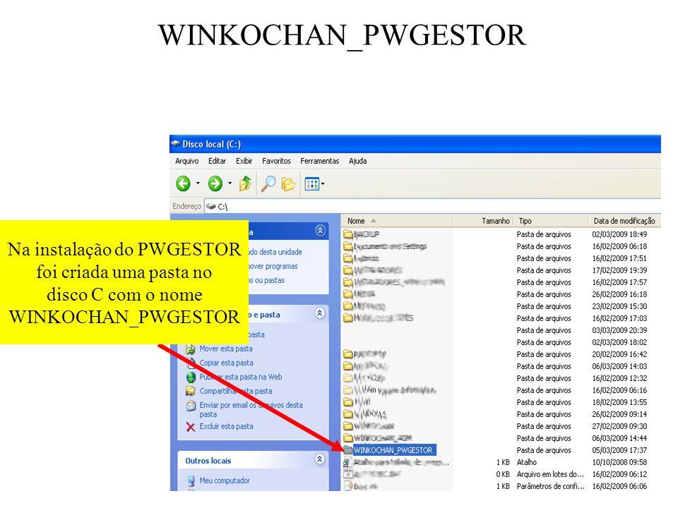 WINKOCHAN_PWGESTOR Na instalação do PWGESTOR foi criada uma pasta no