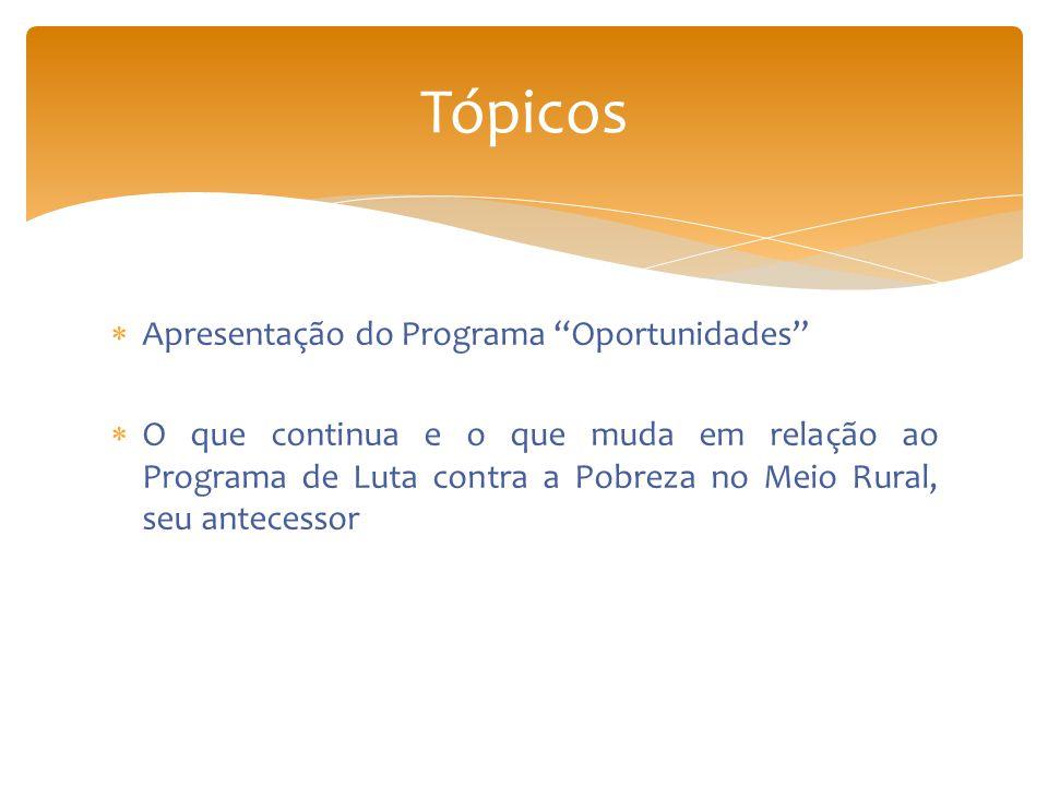 Tópicos Apresentação do Programa Oportunidades