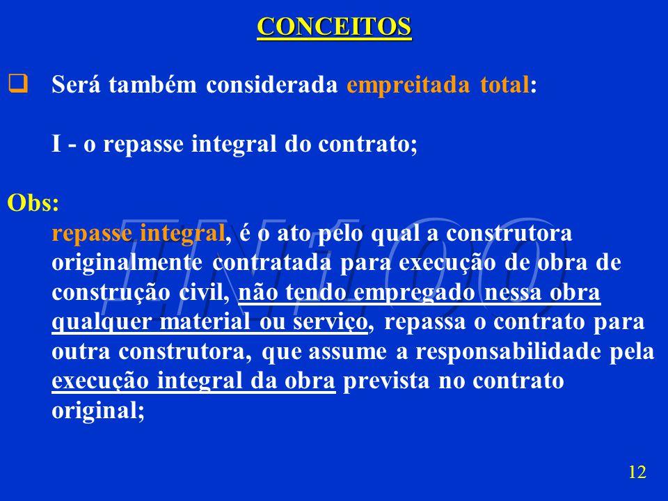 CONCEITOS Será também considerada empreitada total: I - o repasse integral do contrato; Obs: