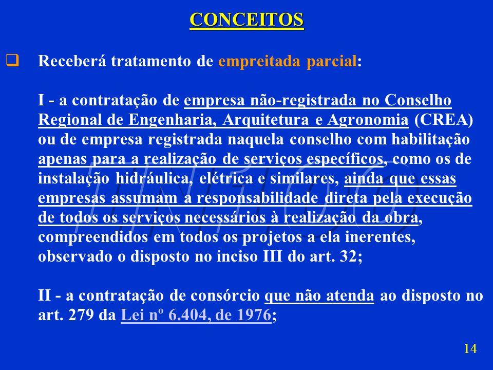 CONCEITOS Receberá tratamento de empreitada parcial: