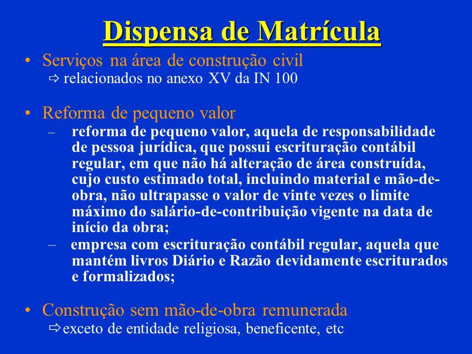 Dispensa de Matrícula Serviços na área de construção civil