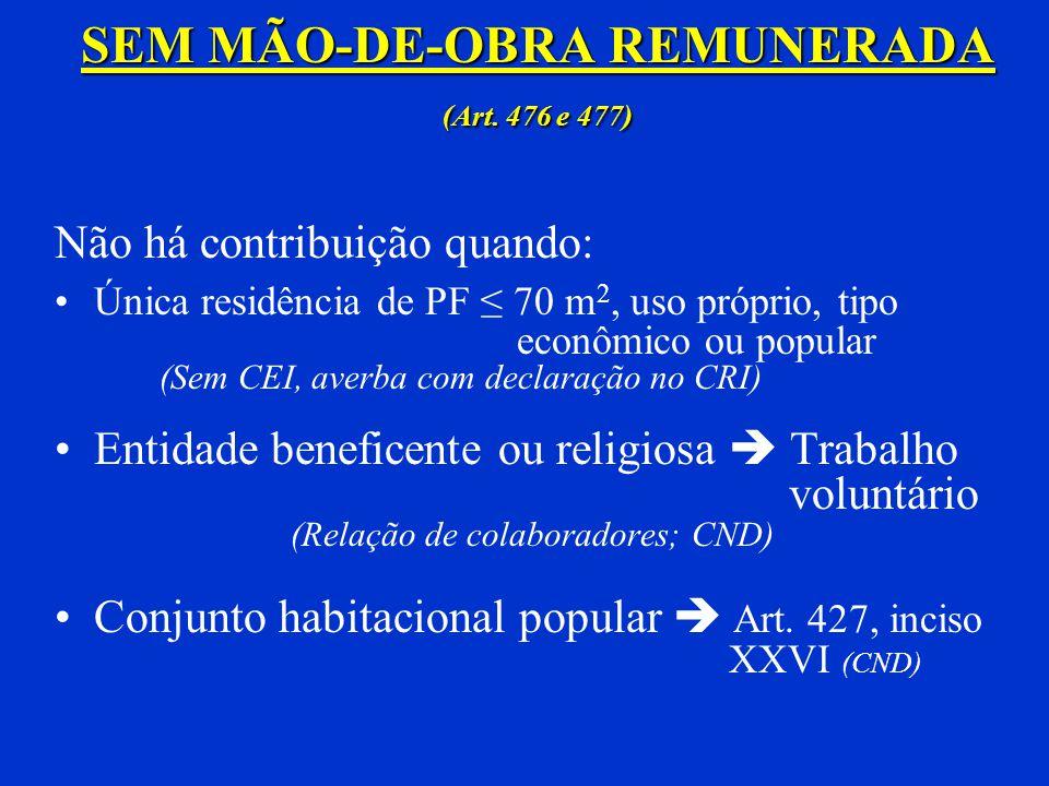 SEM MÃO-DE-OBRA REMUNERADA (Art. 476 e 477)