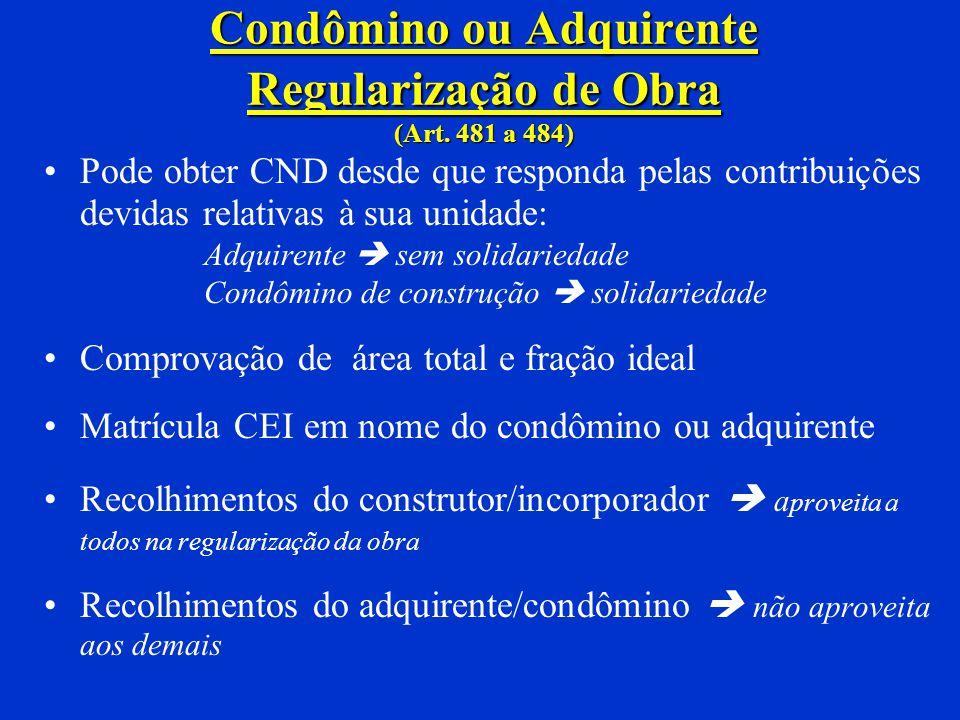 Condômino ou Adquirente Regularização de Obra (Art. 481 a 484)