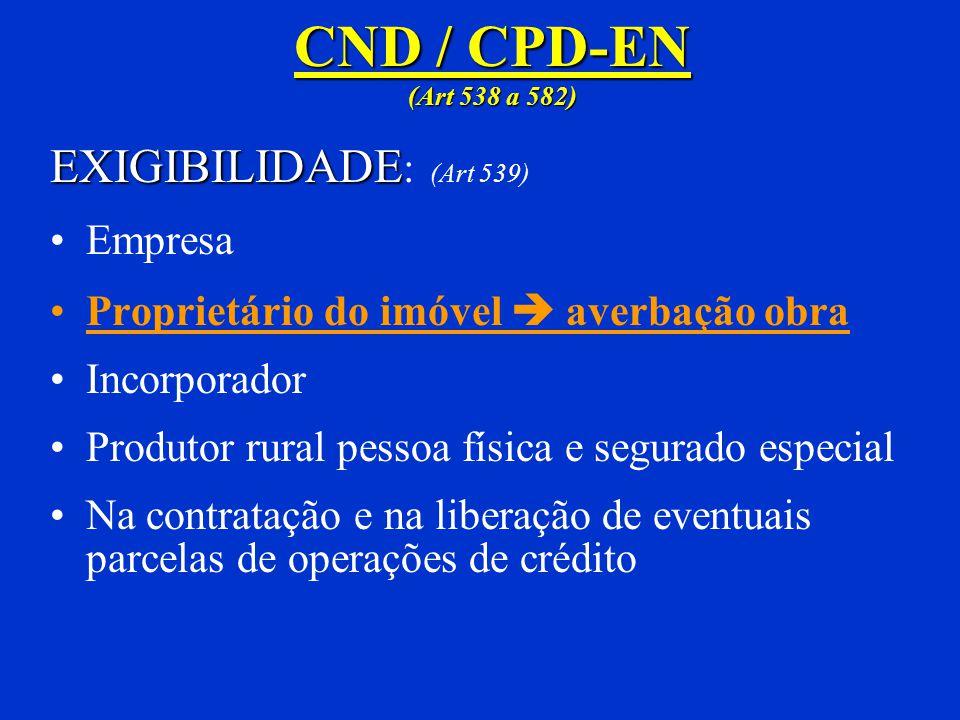 CND / CPD-EN (Art 538 a 582) EXIGIBILIDADE: (Art 539) Empresa