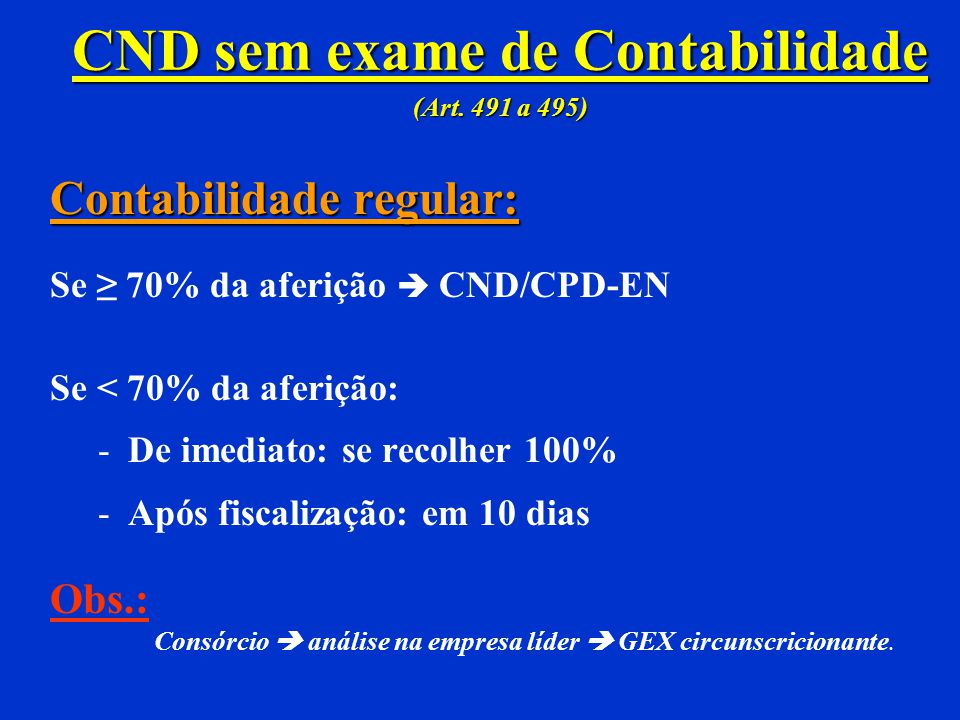 CND sem exame de Contabilidade (Art. 491 a 495)