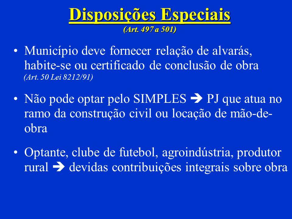 Disposições Especiais (Art. 497 a 501)