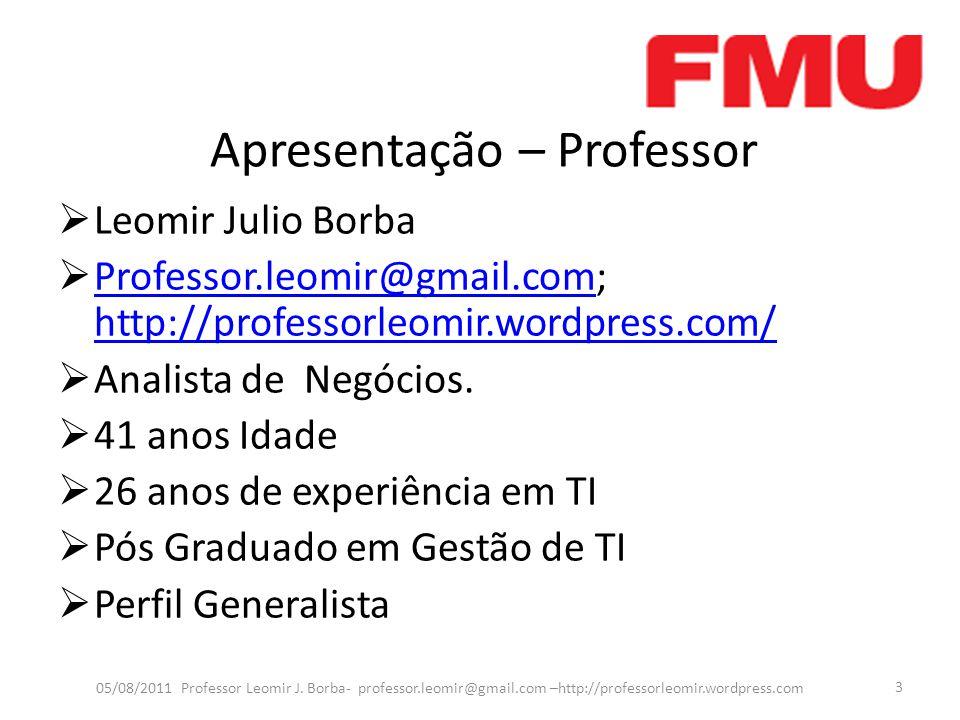 Apresentação – Professor