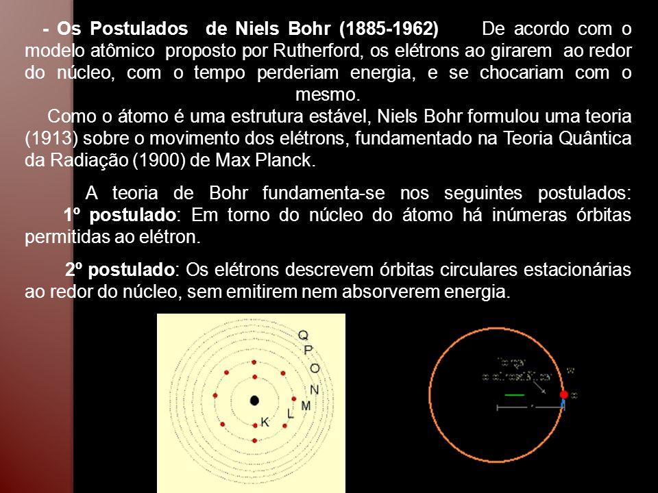 - Os Postulados de Niels Bohr (1885-1962) De acordo com o modelo atômico proposto por Rutherford, os elétrons ao girarem ao redor do núcleo, com o tempo perderiam energia, e se chocariam com o mesmo. Como o átomo é uma estrutura estável, Niels Bohr formulou uma teoria (1913) sobre o movimento dos elétrons, fundamentado na Teoria Quântica da Radiação (1900) de Max Planck.