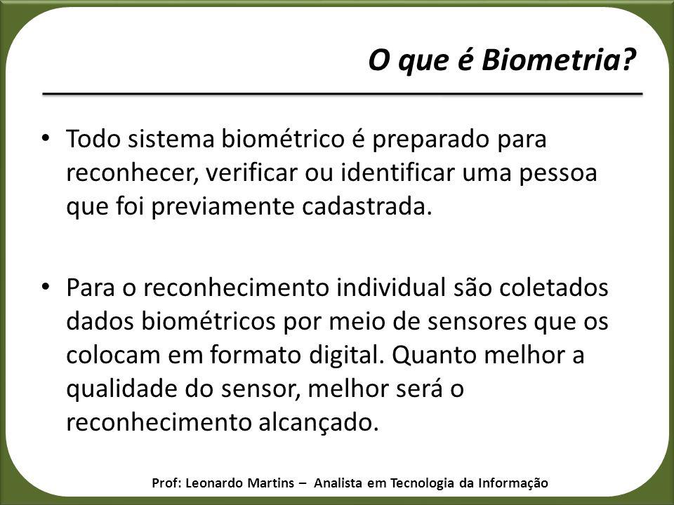 O que é Biometria Todo sistema biométrico é preparado para reconhecer, verificar ou identificar uma pessoa que foi previamente cadastrada.
